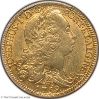 1802 (circa) 22 Livres C/M on 1759 Brazil 6400 Reis Martinique PCGS AU58 Martinique