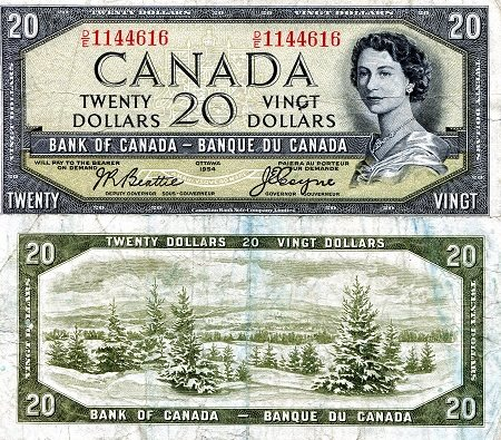 Canada 20 Dollars Pick #: 70b 1954 VF/F (see scan)Other North American  Currency Queen Elizabeth II (with devils face in hairdo)