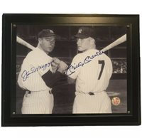 Joe DiMaggio and Mickey Mantle Signed Framed Photograph With COA