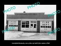 OLD POSTCARD SIZE PHOTO OF LEITCHFIELD KENTUCKY CITY HALL & FIRE STATION c1960