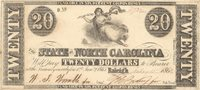 """Raleigh State of North Carolina 1862 $20 75 Unl Unl Unl Imprinted """"Fundable in six percent coupon bonds at top & bottom &J. Manouvner, N. Orleans La and dated Feb'y 15th, 1862, this R-4 variety has large uniform full margins Ch CU"""