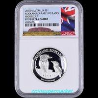 OGP 2016 P Australia HIGH RELIEF 1oz Silver Kookaburra $1 Coin NGC PF70 UC ER