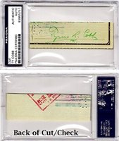 Ty Cobb Autographed Signed Cut - Check with Slabbed PSA/DNA Authenticity - Detroit Tigers - Deceased 1961CUSTOM FRAME YOUR JERSEY