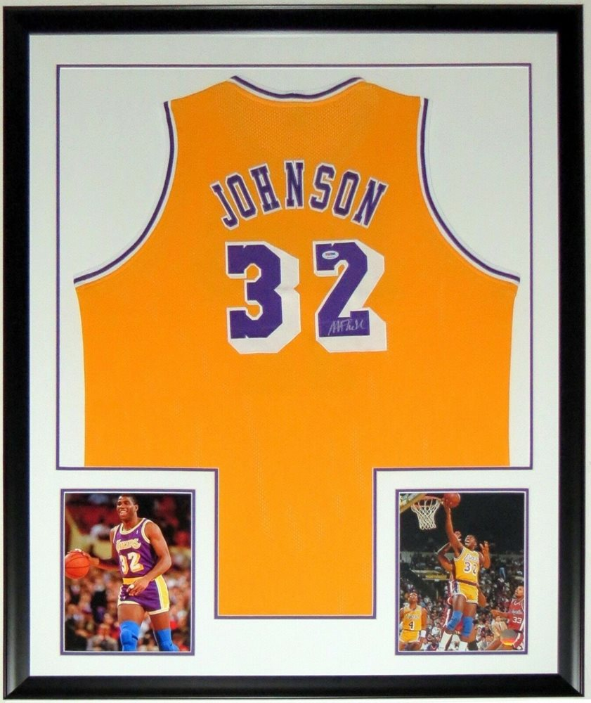buy popular 4eccb f555e Magic Johnson Autographed Signed Memorabilia Lakers Jersey PSA/DNA Coa  Custom Framed & 8x10 PhotoCUSTOM FRAME YOUR JERSEY