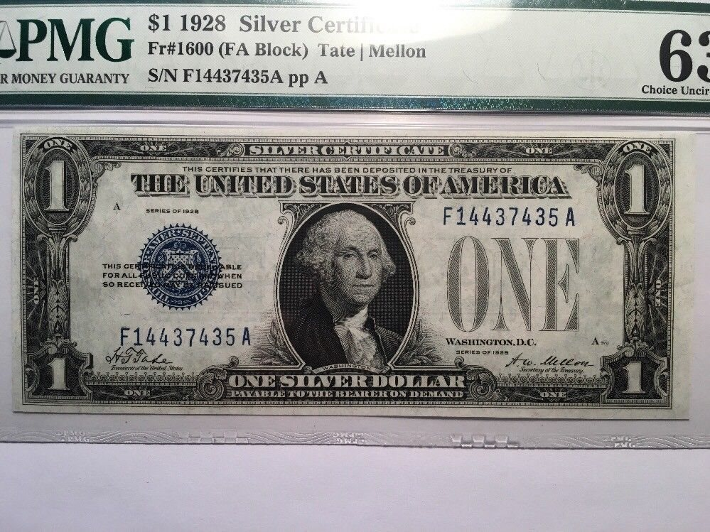 1928 1 One Dollar Bill Funny Back Silver Certificate N