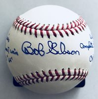 Bob Gibson Autographed Cardinals Auto MLB World Series Stat Baseball (PSA/DNA)