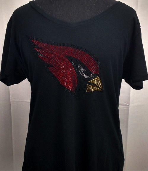 2a29a0c469f Women s Arizona Cardinals Rhinestone Football V-neck T-Shirt Tee Bling Lady.  Click To Enlarge