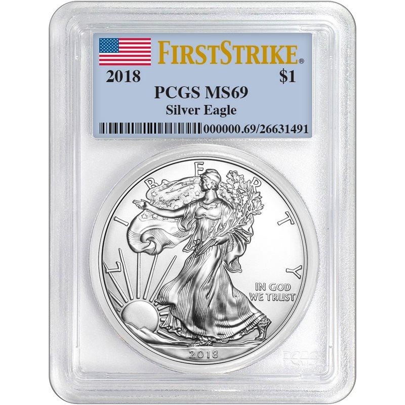 Flag Frame 2018 1oz Silver Eagle PCGS MS69