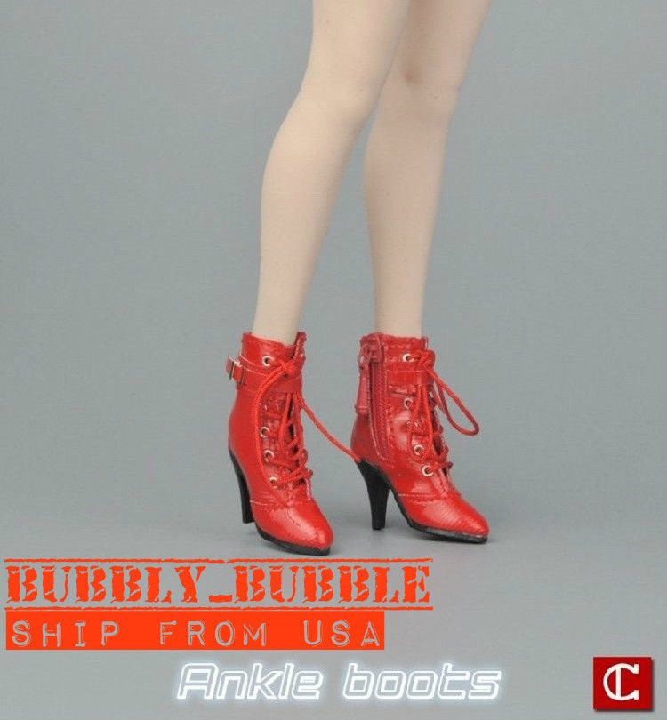"""1//6 Women Ankle Boots Shoes For 12/"""" Phicen Hot Toys Female Figure SHIP FROM USA"""