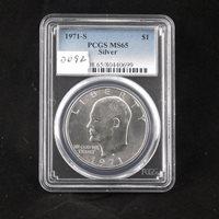 1971 S Eisenhower Silver Dollar, PCGS MS 65, Gem Uncirculated, Graded in Holder, Ike