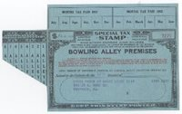 Bowling Alley Premises F.Y.E. 1952 $_ black red (blue s.c.) with coupons for 8 Alleys for 12 months, VF