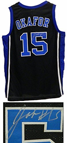 8d0cfd9998a Jahlil Okafor Signed Black Basketball Custom Duke Blue Devils Jersey. Click  To Enlarge
