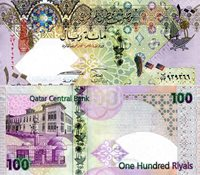 """Qatar 100 Riyals Pick #: 32 2005 UNCOther Hybrid (Polymer/Paper Mix) Green/Purple Ornate Patterns and designs; coat of arms; Mosque; Government BuildingNote 6 1/4"""" x 3"""" Asia and the Middle East Head of a Falcon"""