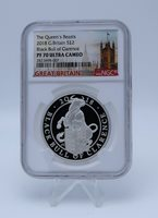 Queen's Beasts 2018 G.Britain £2 Black Bull of Clarence Silver Proof Coin PF69
