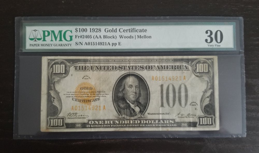 1928 100 Pmg 30 Gold Certificates For Sale