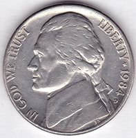 1984 D Jefferson Nickel Uncirculated