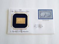 22 KT Gold Replica US Stamp 1898 5 cent Fremont on Rocky Mountain