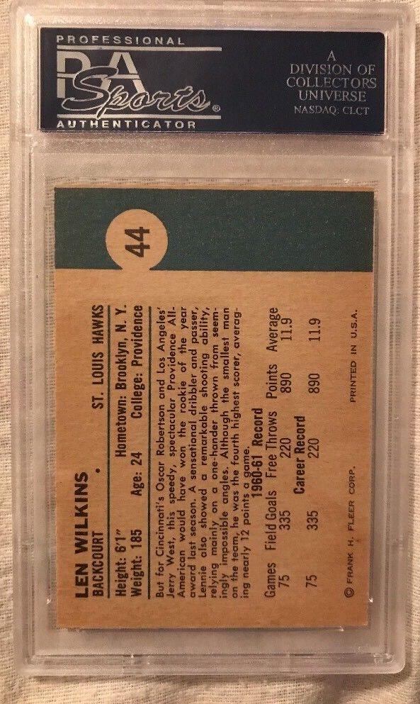 1961 Fleer Lenny Len Wilkins Wilkens Salón de la Fama Novato Rc # 44 Profesional autenticador de deportes 7 X175