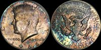 1966 Kennedy Silver Half Dollar BU MS Crowd Pleasing Colorful Toning Color Toned