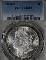 1888-S Morgan Dollar PCGS MS64! Better Date Coin!