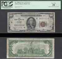 $100 1929 FRBN CHICAGO GUTTER FOLD ERROR PCGS Very Fine 20
