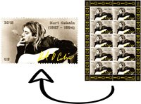 Collection Kurt Cobain stamp Signed, Gift Nirvana logo, poster figure guitar Art
