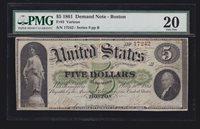 US 1861 $5 Demand Note Boston FR 3 PMG 20 VF (-242)