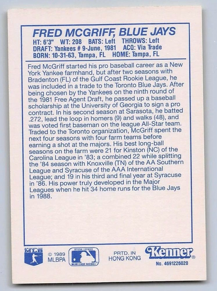 Kenner Starting Lineup Card TORONTO BLUE JAYS - Yellow 1990  FRED McGRIFF