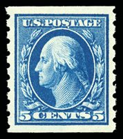 Lot 1721 1913, 5¢ blue, horizontal coil (Scott 396), o.g., never hinged, rich luxuriant color and impression within nicely balanced margins with full complete perforations, Extremely Fine to Superb, with 2004 P.F. certificate and 2012 P.S.E. certificate graded XF-Superb 95. SMQ XF-Superb 95; $550. Estimate $400 - 600.