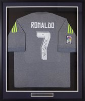 separation shoes e21d2 52a68 Cristiano Ronaldo Autographed Framed Real Madrid Fly Emirates Adidas  Authentic Grey Jersey PSA/DNA Stock #131923Cristiano Ronaldo Autographed  Framed ...
