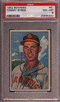 1952 BOWMAN #61 TOMMY BYRNE BROWNS PSA 8 B2287203-942