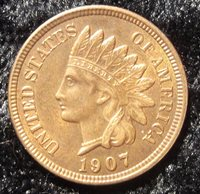 1907 Indian Head Penny MS-65+, 4 diamonds, 1907 Indian Head Cent