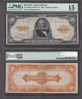 Fr#1200am $50 1922 B118218 PMG15 Small Serial number variety, F15 is a stretch to be sure