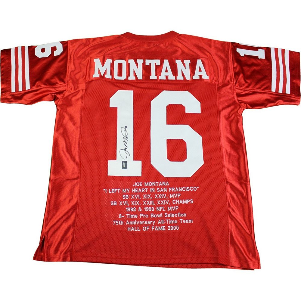 cheap for discount e671d 088d9 Joe Montana Signed Red San Francisco 49ers Jersey with Embroidered Stats  (Joe Montana Holo)