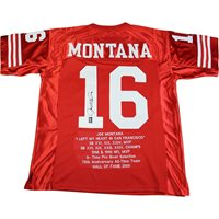 17f8745a4a8 Joe Montana Signed Red San Francisco 49ers Jersey with
