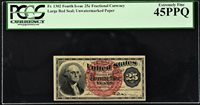 25 Cents FR# 1302 Fourth Issue Fractional Currency Extremely Fine PCGS 45 PPQ