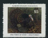 ALWL1 1983 First Alabama Wild Turkey Stamp - Mint OGNH as Issued- Ebay Low-OFFER