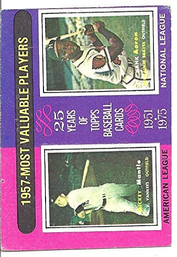 Mickey Mantle Hank Aaron 1957 Most Valuable Players Collectible Trading Card 1975 Topps Baseball Card 195 New York Yankees Atlanta Braves