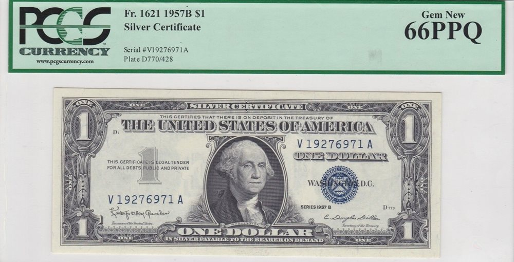 1957 $1 Silver Certificate Dollar PCGS 67 PPQ Superb Gem New Unc Blue Seal Note