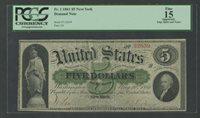 FR1 $5 1861 DEMAND NOTE NEW YORK PCGS FINE 15 (APP) WLM7795