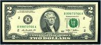 $2 2009 Rios - Geithner. F1939B. New York. From sheet, serial B998... Gem Uncirculated.