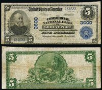 Shreveport LA $5 1902 PB National Bank Note Ch #3600 Commercial NB Fine+