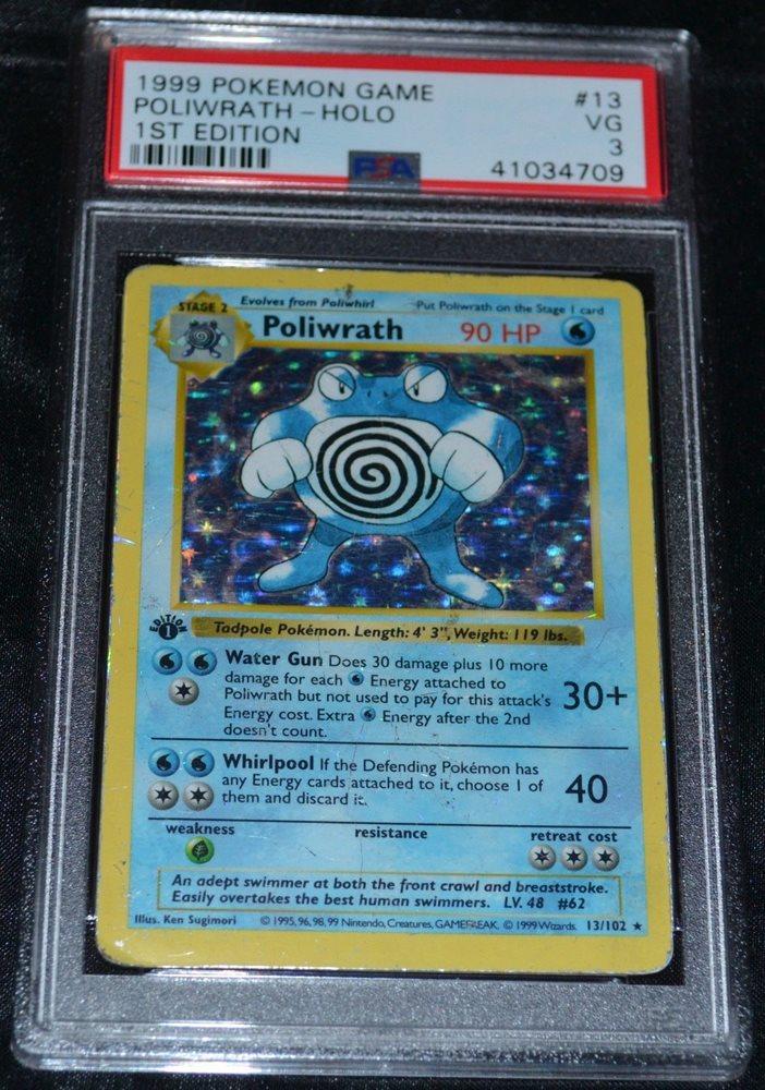 POLIWRATH holo-foil *Played* Pokemon Card Base 13//102