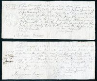 Scott RM110 1798-1801 4c Massachusetts Vassalboro, District of Maine. 2 promissory notes, each requiring a 4 cent stamp, executed by the same 2 people on same date. Had a single note been made, the tax would have been 10 cents; 2 two cents was saved.1800.