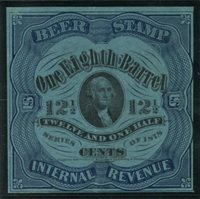 Scott/Priester REA37f (38F) 1878 1/8 barrel, 12-1/2c blue black, dark blue paper (George Washington) F crease