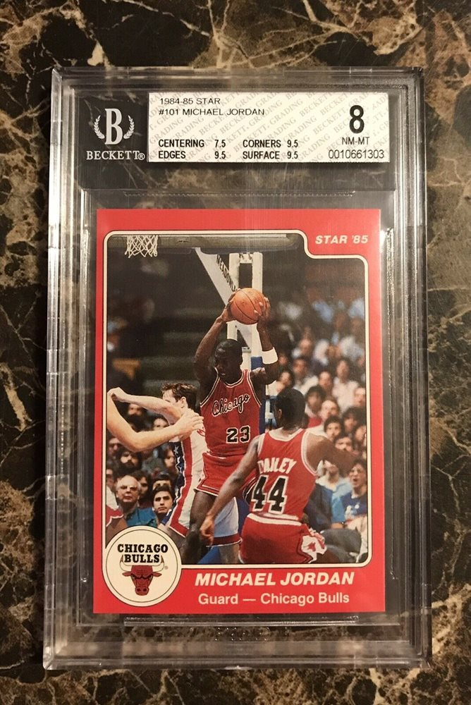 Michael Jordan Star 101 Basketball 1984 85 Rookie Card Rc Bgs 8 With 3 95 Subs