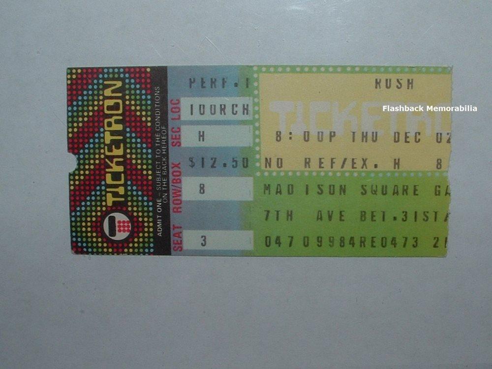 RUSH 1982 Concert Ticket Stub MADISON SQUARE GARDEN NYC