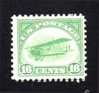 Lot id: 5257 - C2 Air Mail 1st. Issue 16 Cent GreenMint Large Hinge Mark CV $65.00