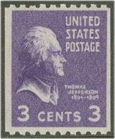 851 3c Thomas Jefferson Vertical Coil Used[851used]