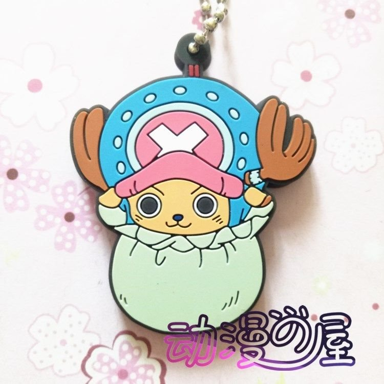 ONE PIECE Luffy Zoro Law Anime Figure Rubber Strap Charm Keychain Key Ring Gift